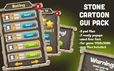 Stone Cartoon GUI Pack